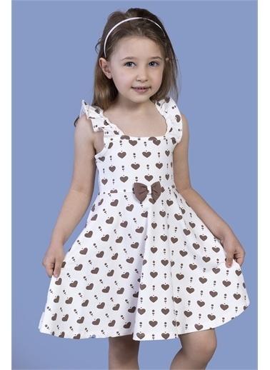 Toontoy Kids Toontoy Kız Çocuk Fırfır Detaylı Komple Baskılı Elbise Ekru